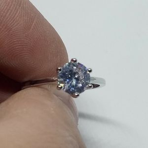 .925 Stamped AAA CZ Solitaire Ring